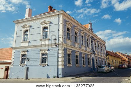 Mikulov Czech Republic - May 17 2015. Tenement house in small Mikulov city in South Moravian Region