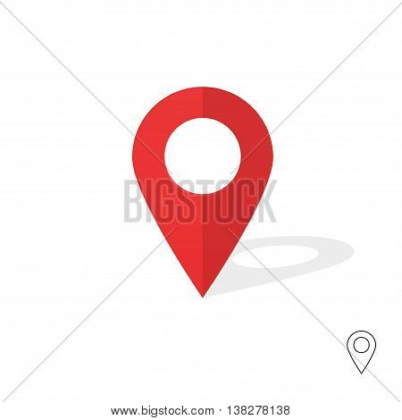 Flat red pin marker vector icon. Modern plan pointer banner logo template. GPS navigation indicator flag system pin illustration isolated
