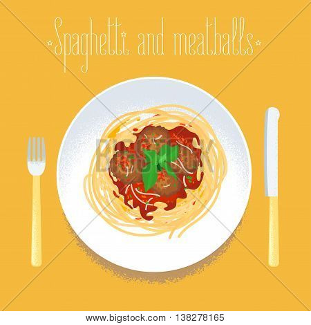 Spaghetti with meatballs Italian pasta vector design element for menu poster. Traditional Italian dish spagetti served for dinner illustration