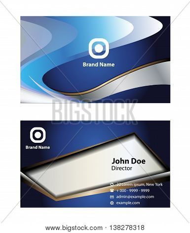 Business card set. Abstract elegant black business card template