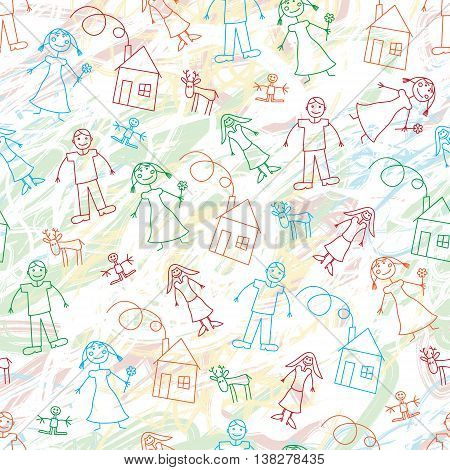Doodle child`s drawing seamless pattern with scribbles