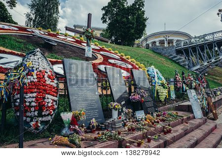 Kiev Ukraine - July 26 2015. Memorial for killed Euromaidan participants at Heroes of Heavenly Hundred Alley