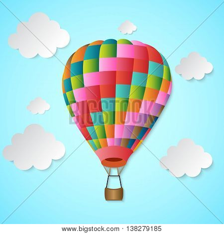 Balloon Hot Air and Clouds vector illustration
