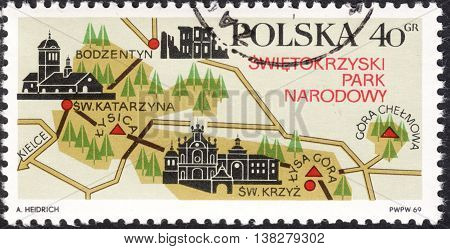 MOSCOW RUSSIA - JANUARY 2016: a post stamp printed in POLAND shows a map of Swietokrzyski National Park - Larch Polonica the series