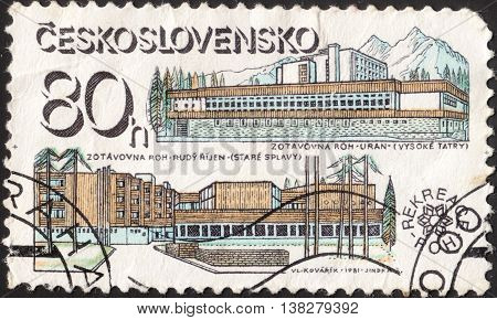 MOSCOW RUSSIA - JANUARY 2016: a post stamp printed in CZECHOSLOVAKIA shows the Uran and Red October Hotels the series