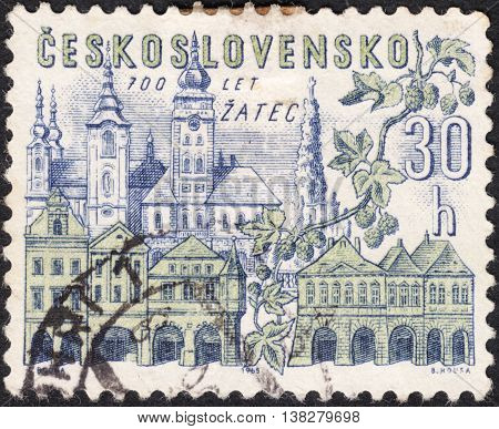 MOSCOW RUSSIA - JANUARY 2016: a post stamp printed in CZECHOSLOVAKIA shows view of Zatec town the series