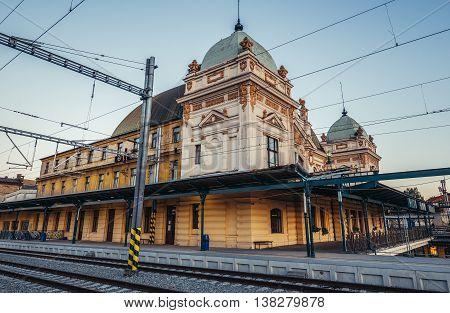 Pilsen Czech Republic - October 2 2015. Main Railway Station building in Pilsen (Plzen)