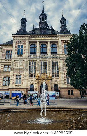 Pilsen Czech Republic - October 3 2015. Main facade of West Bohemia Museum building in Pilsen