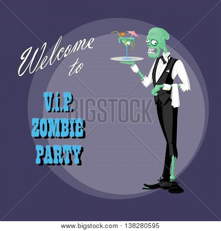 Concept design poster for halloween holiday party with cute elegant zombie drawing in funny cartoon retro style. Vector illustration