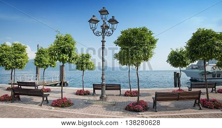 pictorial lakeside promenade gargnano with orange trees and benches garda lake italy