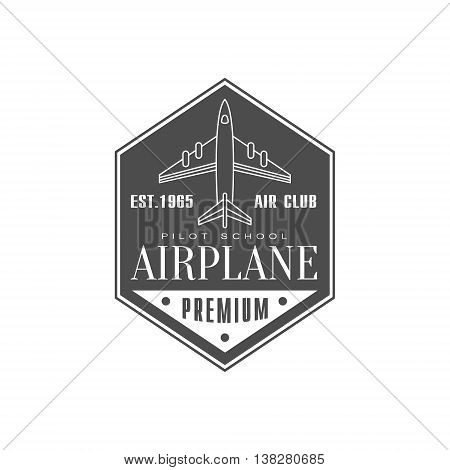 Airplane Air Club Emblem Classic Style Vector Logo With Calligraphic Text On White Background