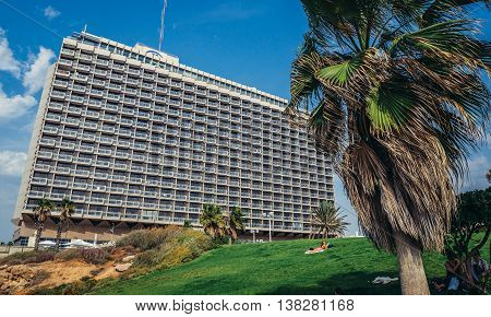 Tel Aviv Israel - October 18 2015. Hilton Hotel located next to Independence Park in Tel Aviv