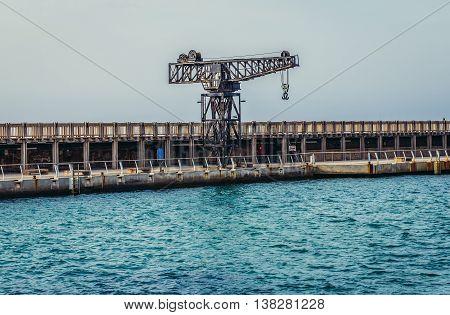 Tel Aviv Israel - October 18 2015. Old crane in Tel Aviv Port area