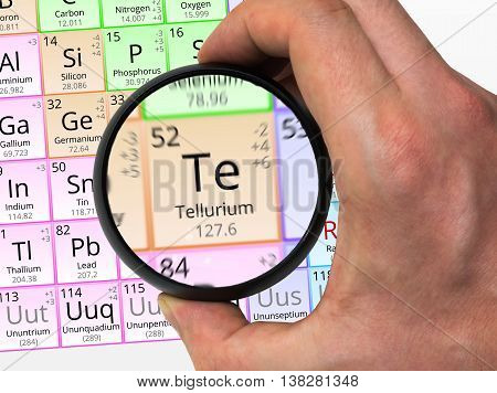 Tellurium Symbol - Te. Element Of The Periodic Table Zoomed With