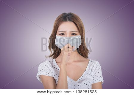 Woman in mask, closeup portrait.