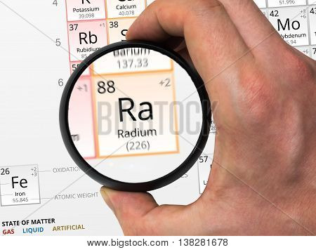 Radium Symbol - Ra. Element Of The Periodic Table Zoomed With Ma