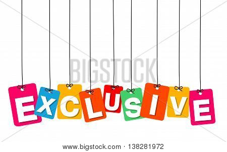 Vector colorful hanging cardboard. Tags - exclusive on white background