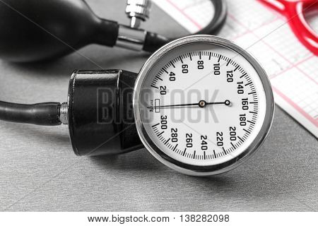 Medical concept. Medical manometer, close up