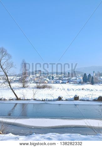 Wintertime in Bavarian Forest with View to Village of Grafenwiesen,Bavaria,Germany