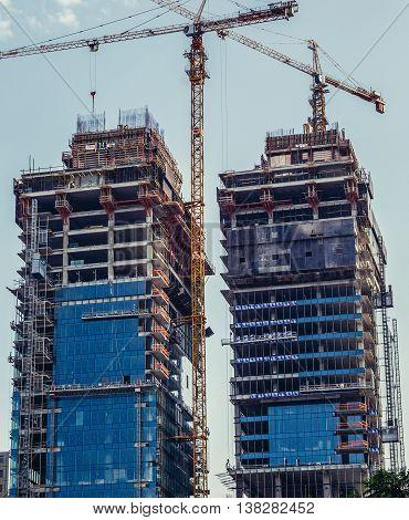 Tel Aviv Israel - October 20 2015. Building site of Ha'Arba'a Towers