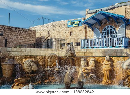 Tel Aviv Israel - October 20 2015. View of so called Zodiac Fountain in Jaffa area