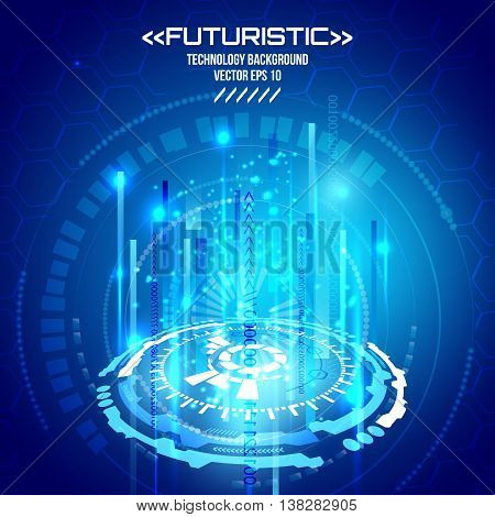 Futuristic interface, HUD, vector background, technology circle