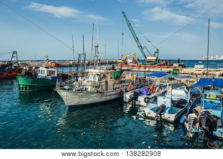Tel Aviv Israel - October 20 2015. Fishing cutters in Jaffa also called Japho or Joppa former port city now part of Tel Aviv