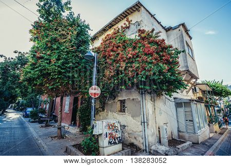 Tel Aviv Israel - October 20 2015. Detached house in historic Neve Tzedek district (lit. Abode of Justice) of Tel Aviv