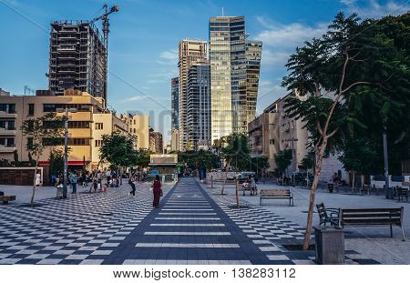 Tel Aviv Israel - October 20 2015. Modern office buildings and residential skyscrapers seen from Rothschild Boulevard