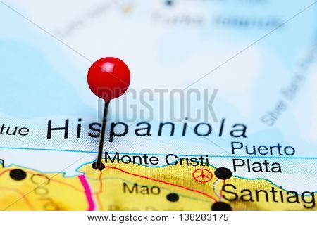 Monte Cristi pinned on a map of Dominican Republic