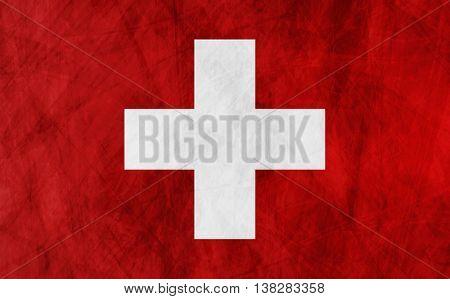 Swiss grunge flag vector design background