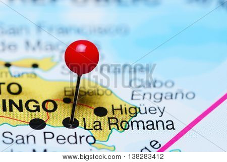 La Romana pinned on a map of Dominican Republic