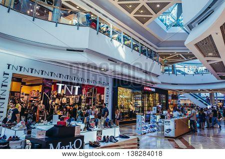 Tel Aviv Israel - October 21 2015. People visits shopping centre in Azrieli Center complex of three skyscrapers in Tel Aviv