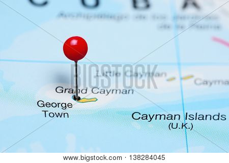 George Town pinned on a map of Grand Cayman