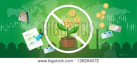 prohibition of riba or compound interest in Islamic banking money investment vector