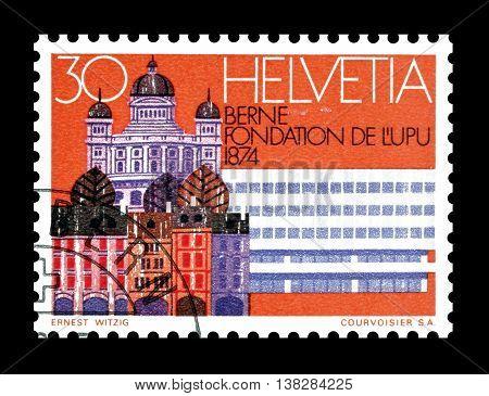 SWITZERLAND - CIRCA 1974 : Cancelled postage stamp printed by Switzerland, that shows Bern.