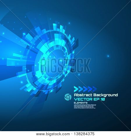 Technology circle, sci-fi abstract background for futuristic high tech design - vector.