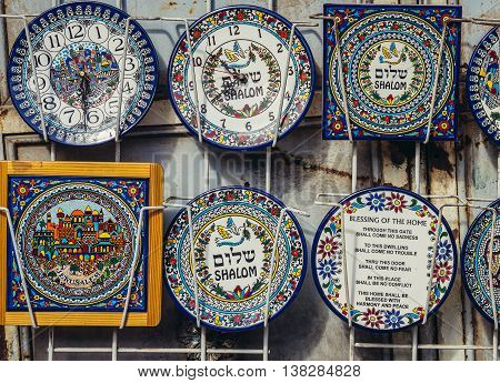 Jerusalem Israel - October 22 2015. Ceramic souvenirs in small shop in the city of Jerusalem