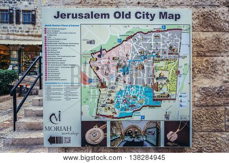 Jerusalem Israel - October 22 2015. Tourist map of Old Town of Jerusalem city