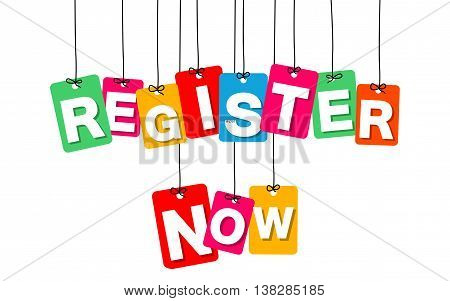 Vector colorful hanging cardboard. Tags - register now on white background
