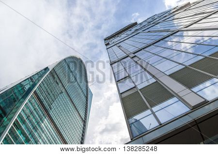 Moscow Russia - June 19 2016: Capital City Moscow and Imperial Towers in Moscow City business complex.