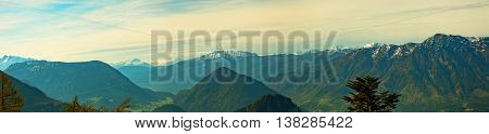 panoramic view of an alpine mountain