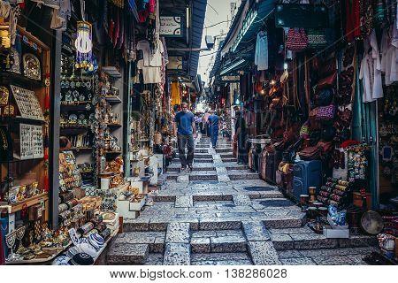 Jerusalem Israel - October 22 2015. People walks on Arab baazar located inside the walls of the Old City of Jerusalem