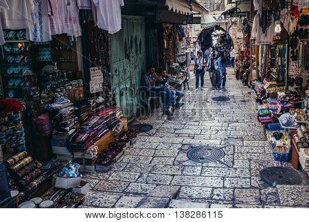 Jerusalem Israel - October 22 2015. People walks on Arab baazar located inside the walls of the Old City of Jerusalem