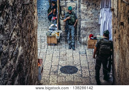 Jerusalem Israel - October 22 2015. Officers of Israeli Border Police called Magav on Arab baazar located inside the walls of the Old City of Jerusalem