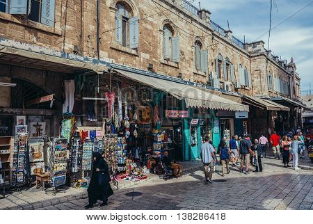 Jerusalem Israel - October 22 2015. People walks at strret of shopping area called Muristan loctaed on the Christian Quarter in Jerusalem