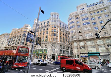 MADRID, SPAIN - OCTOBER 25: View of Gran Via, October 25, 2010, in Madrid, Spain. Gran Via - main shopping street in Madrid, capital of Spain.