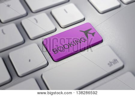 Plane Sign On Keyboard, To Illustrate Online Booking Or Purchase Of  Ticket  Business Travel Concept