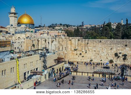 Jerusalem Israel - October 22 2015. Aerial view of Dome of Rock and Wailing Wall in Jerusalem city