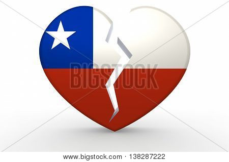 Broken White Heart Shape With Chile Flag